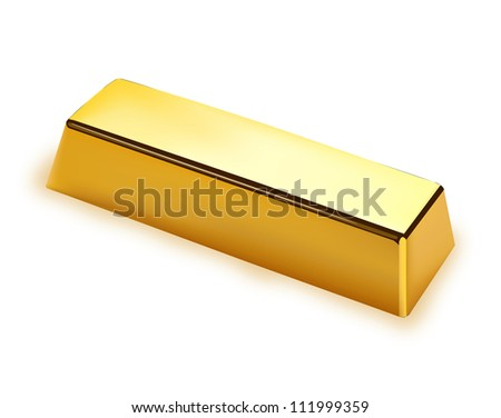 Gold bar isolated on white background - stock vector