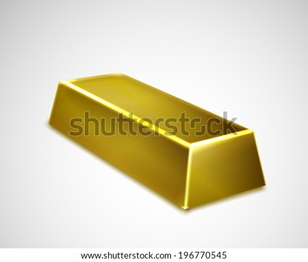 Gold bar isolated on white background. Vector - stock vector