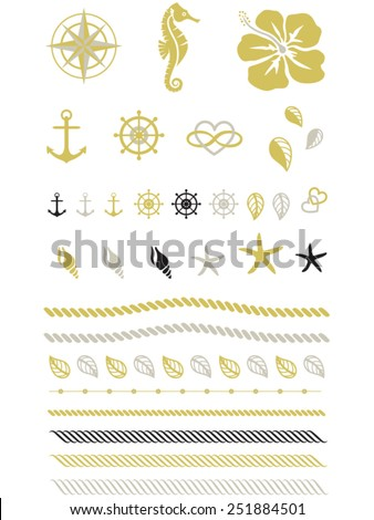 Gold Beach Tattoo, Rope, Rudder, Anchor, Seahorse, Vector - stock vector