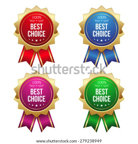 Gold best choice badges on white background - stock vector