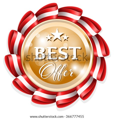 Gold best offer badge with red ribbon - stock vector