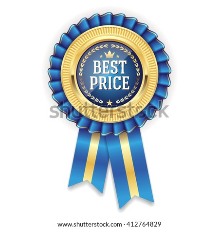 Gold best price badge, rosette with blue ribbon on white background - stock vector