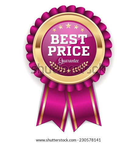 Gold best price badge with purple ribbon on white background - stock vector