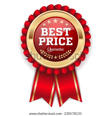 Gold best price badge with red ribbon on white background - stock vector