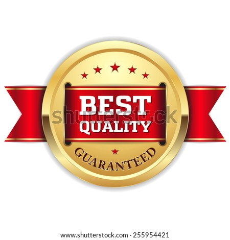 Gold best quality badge with red ribbon on white background - stock vector