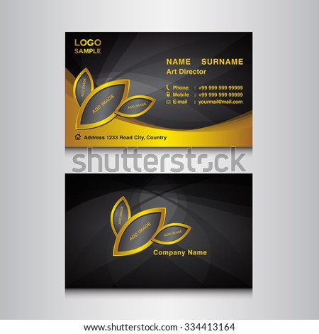 gold black business card design template stock vector 334413164