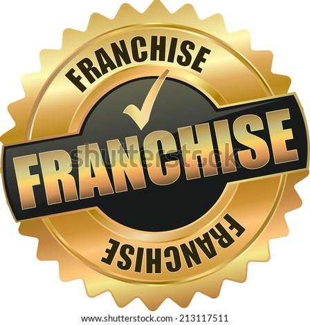 gold black franchise sign - stock vector