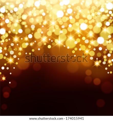 Gold Bokeh Background - stock vector