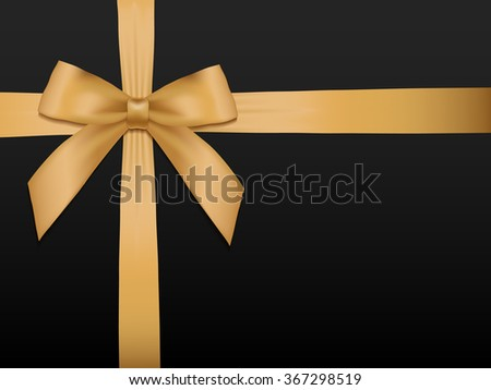 Gold Bow with ribbons. Shiny holiday gold satin ribbon on black background. Gift coupon, voucher, card template. Vector illustration. - stock vector