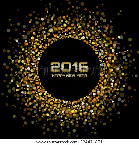 Gold Bright New Year 2016 Background, vector illustration - stock vector