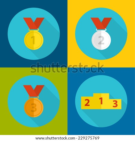 Gold, bronze, silver medal with red ribbon, podium. a flat design with a long shadow.first, second and third prize,  the highest award accomplishment 1st winner - stock vector