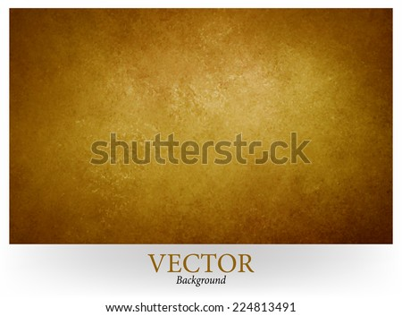 gold brown vector background, gold center and brown vignette border, abstract vintage grunge background texture, earthy country western style with bronze coloring, faux leather background design - stock vector