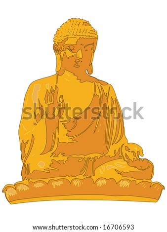 Gold Buddha Statue Illustration Vector - stock vector