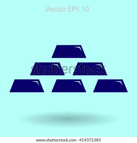 gold bullion icon vector illustration - stock vector