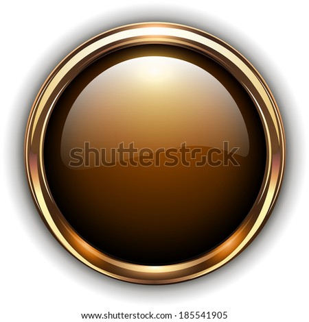 Gold button elegant glossy metallic, vector illustration - stock vector