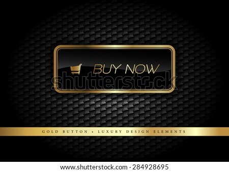 Gold button on the luxury black background. More golden buttons in this style on my portfolio. - stock vector