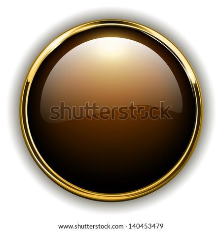 Gold button shiny metallic, vector illustration - stock vector