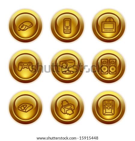 Gold button web icons, set 21 - stock vector