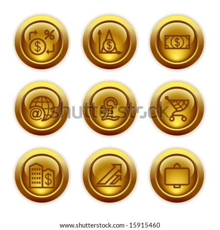 Gold button web icons, set 23 - stock vector