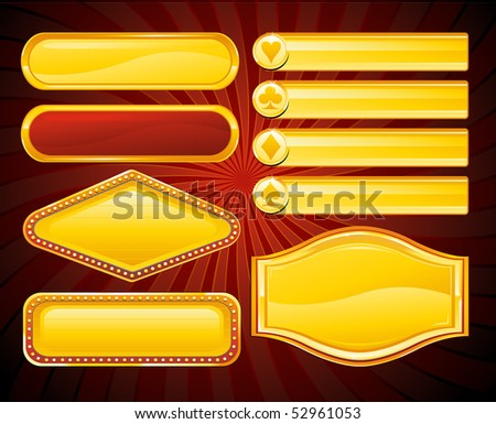 Gold casino signs and banners - stock vector