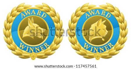 Gold cat and dog pet competition winners medals illustrations. Could be for winning pet in pet show or agility competition or for pet product winning in its category in a review or test. - stock vector