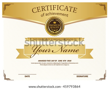 Gold certificate diploma template vector illustration stock vector gold certificate diploma template vector illustration design yadclub Choice Image
