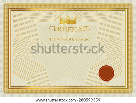 Gold certificate. Official certificate. Template. Crown