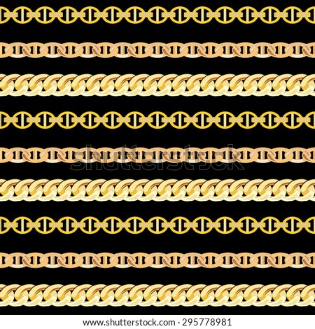 Gold Chain Jewelry Seamless Pattern Background. Vector Illustration. EPS10 - stock vector