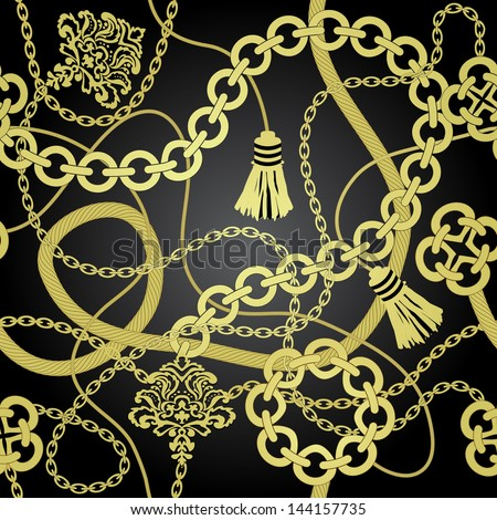 Gold chain seamless vector background. - stock vector