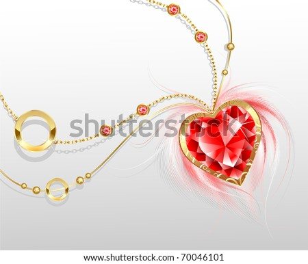 gold chain with a stylish pendant in the form of a ruby heart with fluffy white feathers. - stock vector