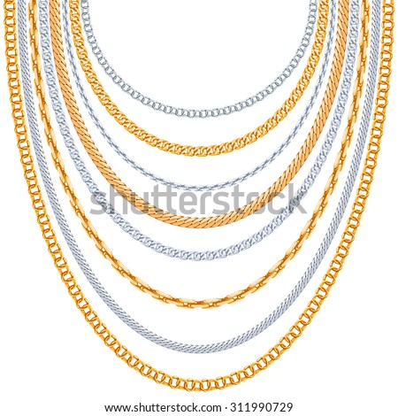 Gold chains vector background. Silver hanging, link metallic shiny illustration - stock vector