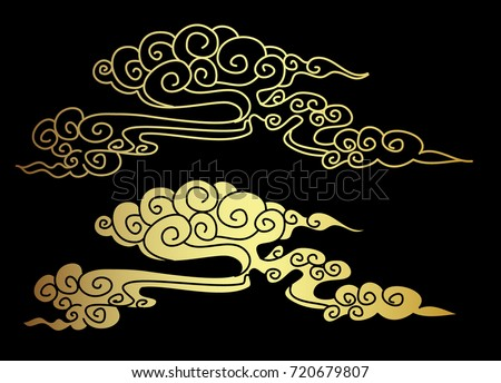Gold chinese cloud on black background chinese stock for Chinese clouds tattoos