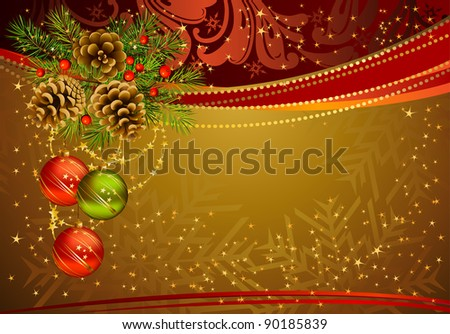 gold Christmas background with fir tree, cones and evening balls - stock vector