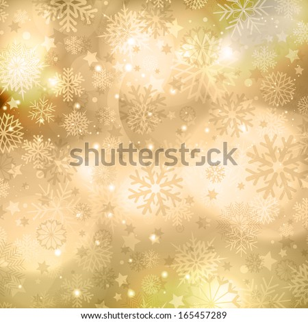 Gold Christmas background with snowflakes and stars design - stock vector