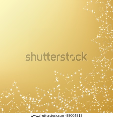 gold christmas background with star decorations - stock vector
