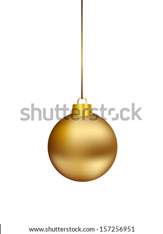 Gold christmas ball hanging on white - stock vector