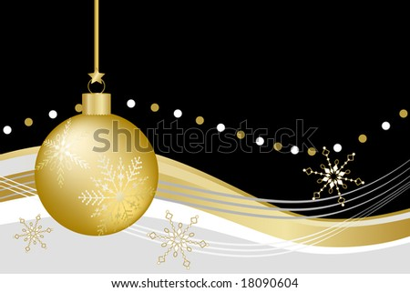 Gold Christmas ball ornament with snowflakes against black, gold, white, and gray abstract background. - stock vector