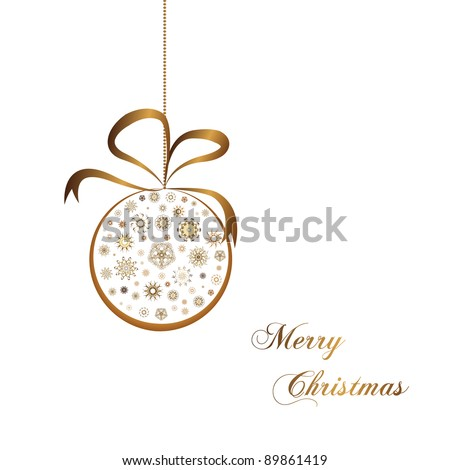 gold christmas ball with snow on white background - stock vector