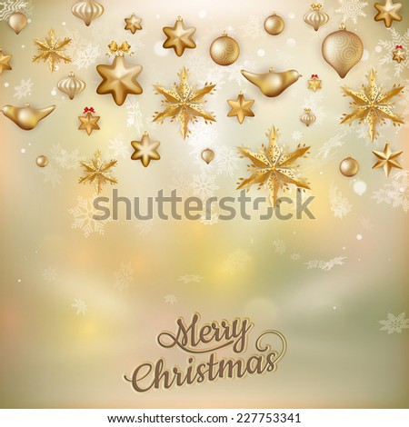Gold Christmas baubles background of defocused golden lights. Shallow DOF. EPS 10 vector file included - stock vector