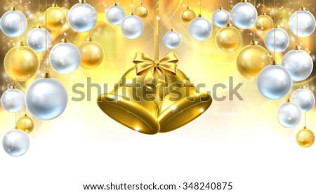 Gold Christmas bells and silver Christmas baubles decoration abstract background. Fades to white at the bottom for easy use as border design or header. - stock vector