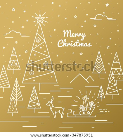 Gold Christmas Card with Christmas trees. Gifts on sledge to print on t-shirt label - stock vector