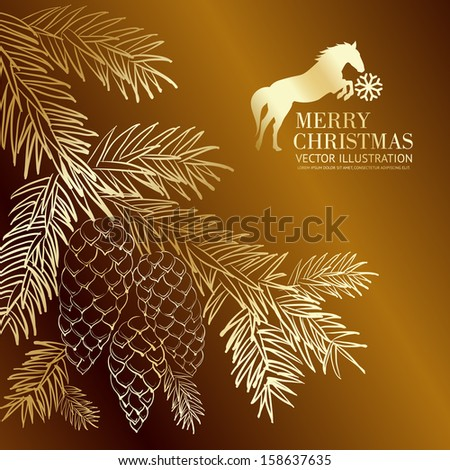 Gold  christmas fir and pinecone.. Vector illustration. - stock vector