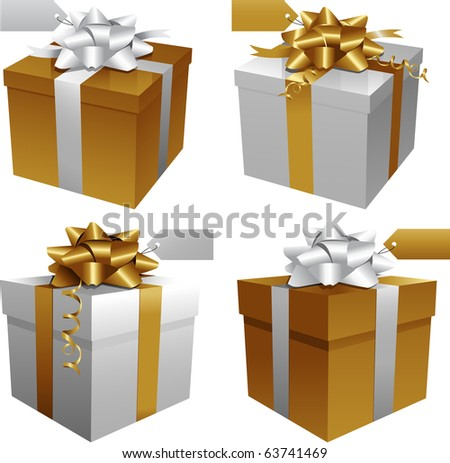 Gold Christmas gift boxes - stock vector