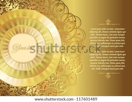 Gold Christmas or wedding card - stock vector