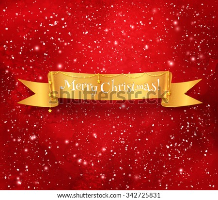 Gold Christmas ribbon banner with garland on red glowing watercolor background with falling snow. - stock vector