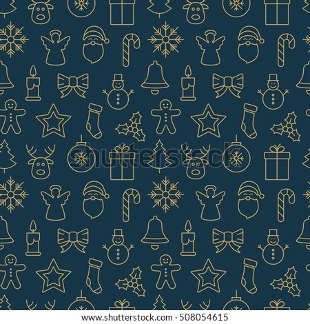 gold christmas seamless pattern icons blue background