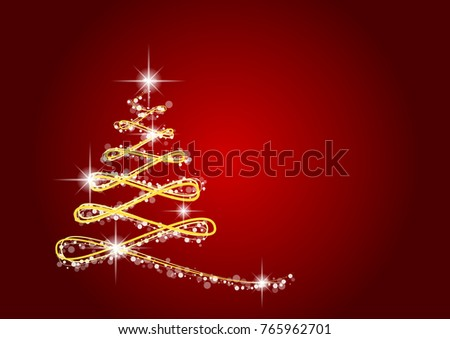 gold Christmas tree with bokeh line on red background - vector eps 10