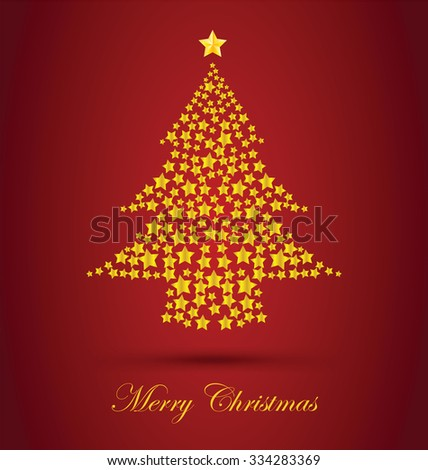 Gold Christmas Tree With Red Background - stock vector
