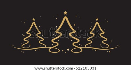 gold christmas trees stars black background