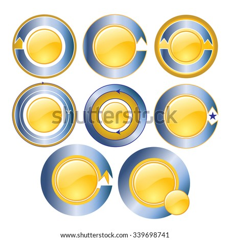 Gold circle banner blue